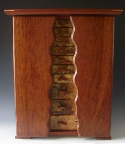 Handmade standing jewelry box with two side doors with necklace holders and ten drawers