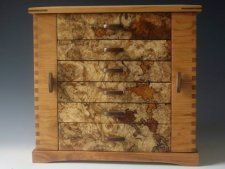 Handmade standing jewelry box with two side doors and six drawers