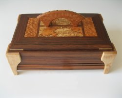 Handmade wooden decorative trinket boxes made of bubinga with modern handle