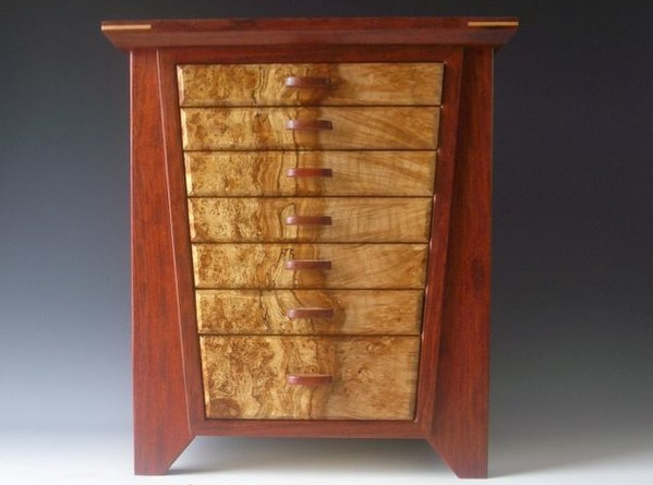 Handmade standing jewelry box with two side doors and seven drawers