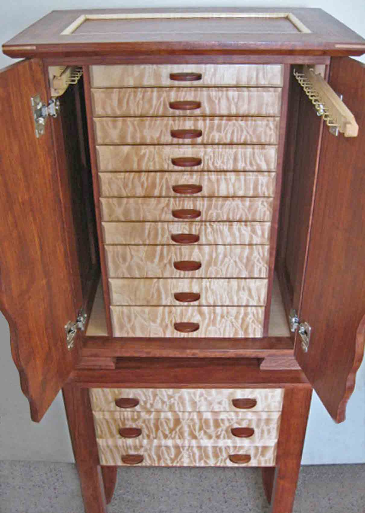Standing Armoire Jewelry Box with drawers and doors open