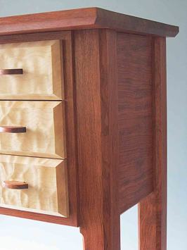 Handmade wooden base table for standing jewelry box