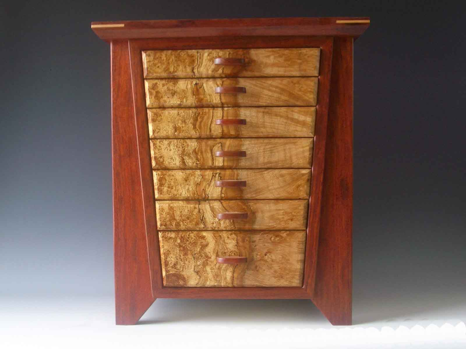 One of my larger handmade jewelry boxes, the Angle, made of bubinga wood from Africa.