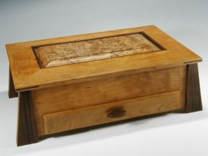 Handcrafted wood box made of cherry and black walnut