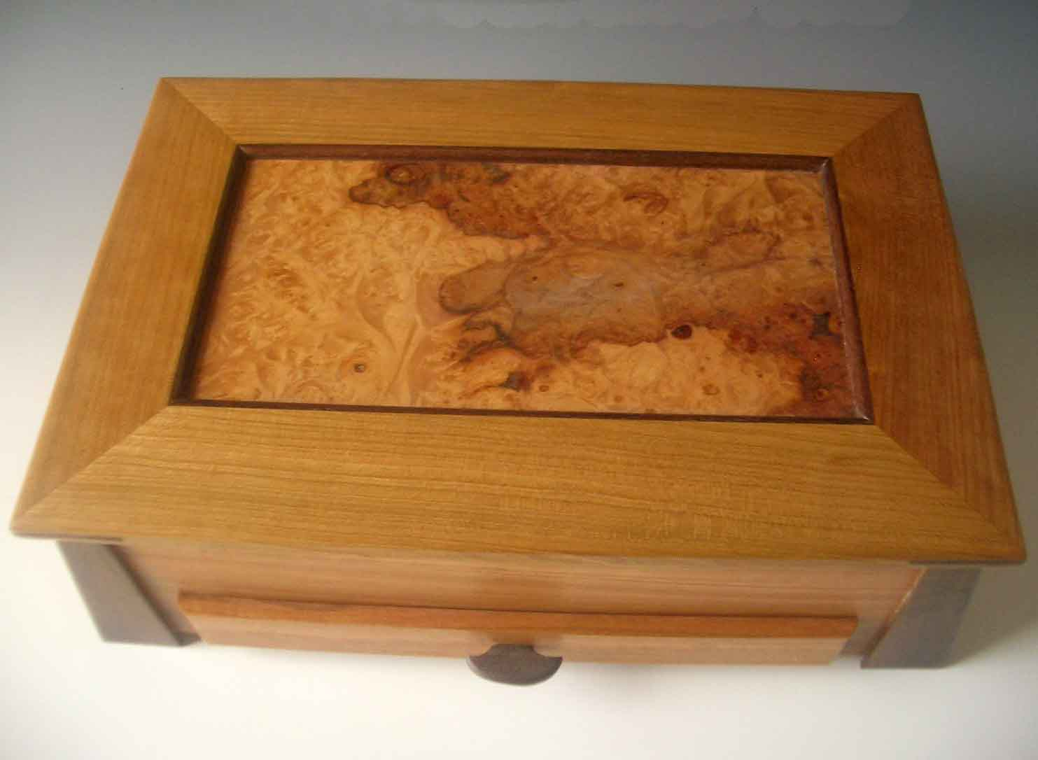 Handmade large wooden jewelry box made of cherry wood and spalted maple burl