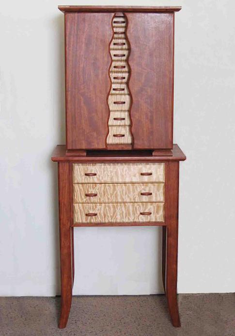 Standing armoire jewelry box handmade of exotic hardwoods