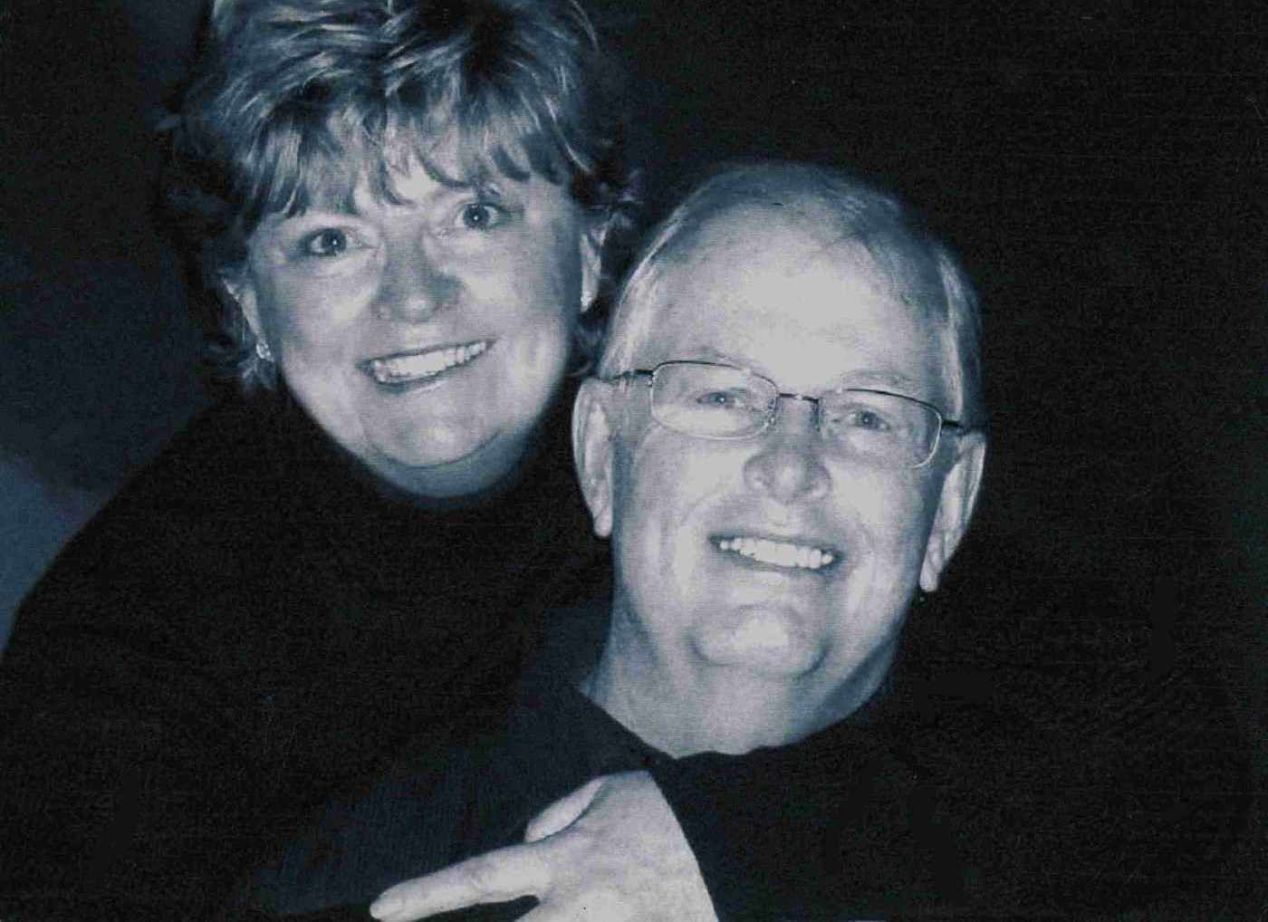 Black and white photo of the artist, Steve Smith, and his wife, Karen Smith