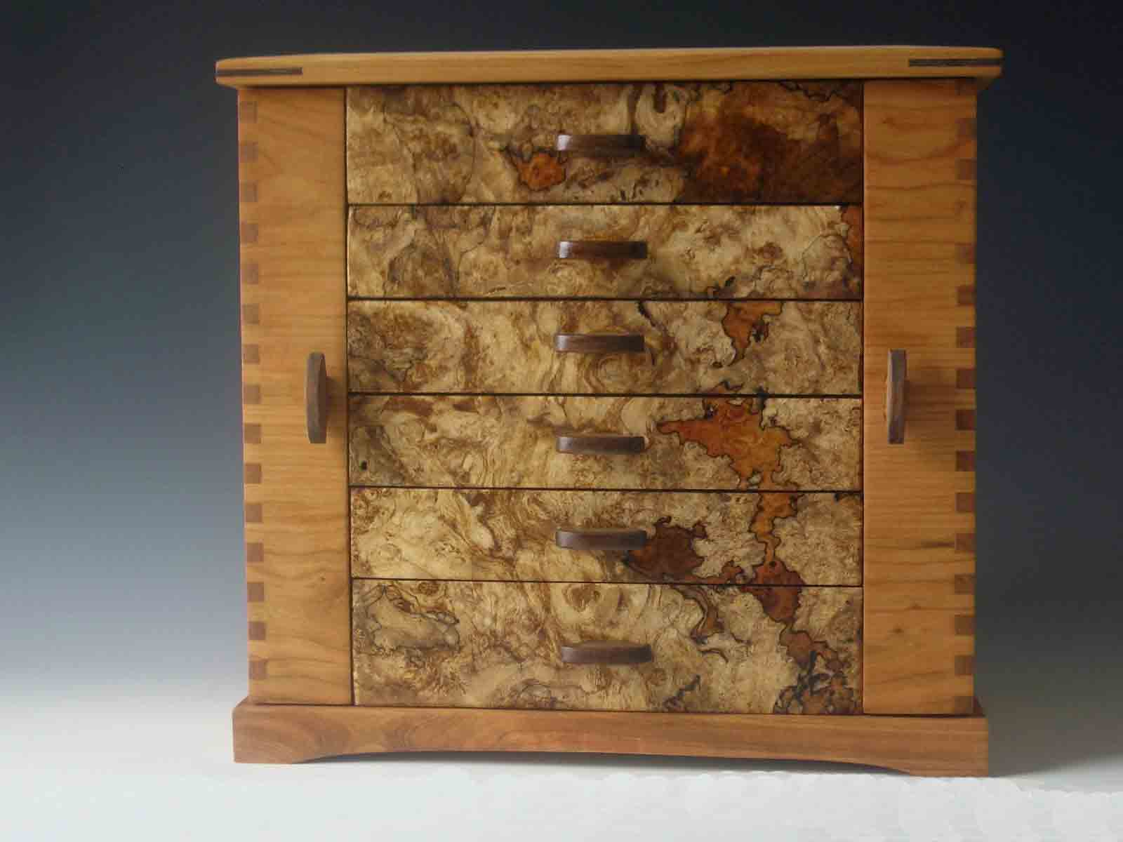 Handmade Standing Jewelry Box Made Of Cherry Wood And Burl With Two Side Doors