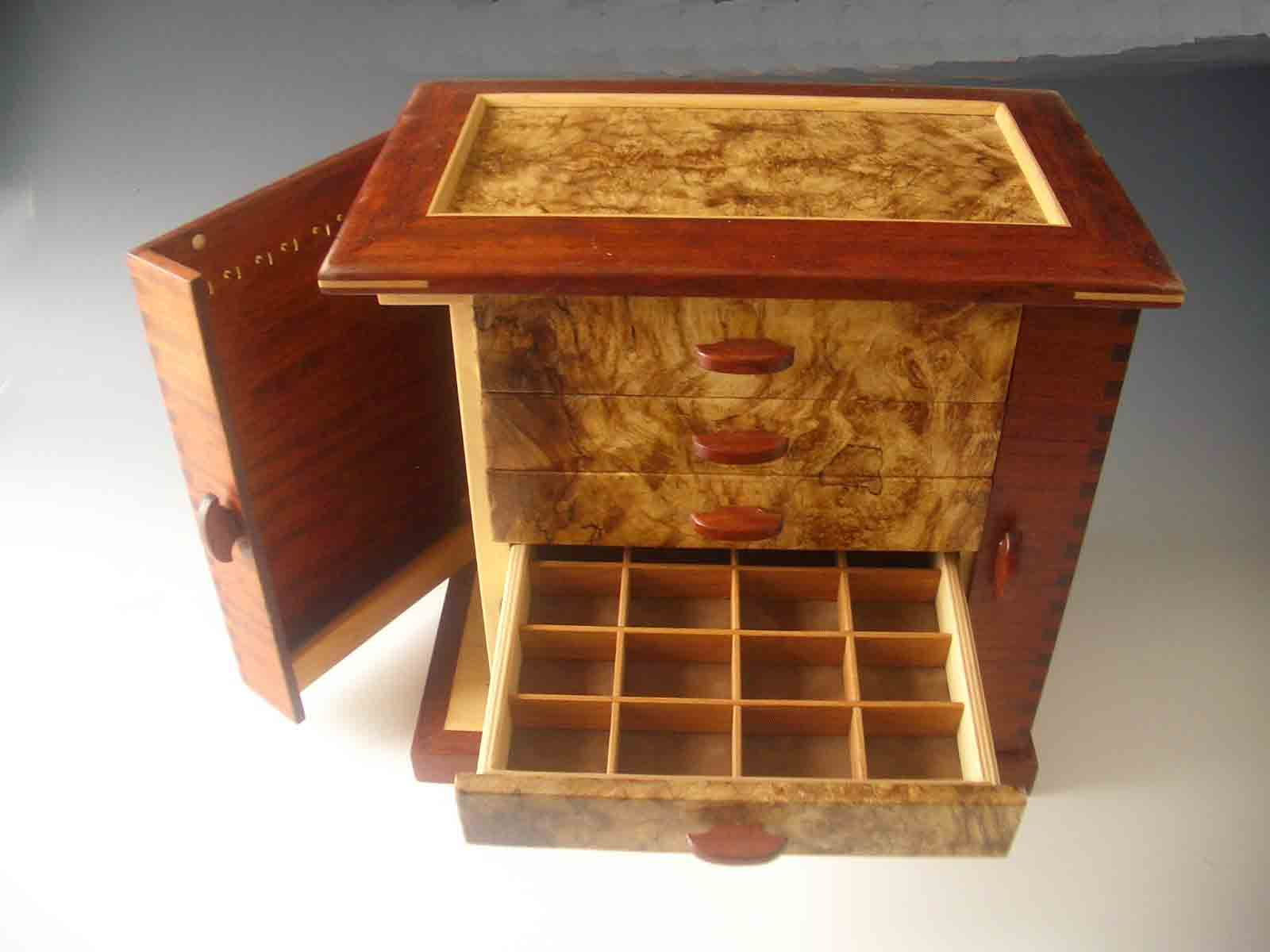 Standing Jewelry Box Handmade Of Exotic Wood