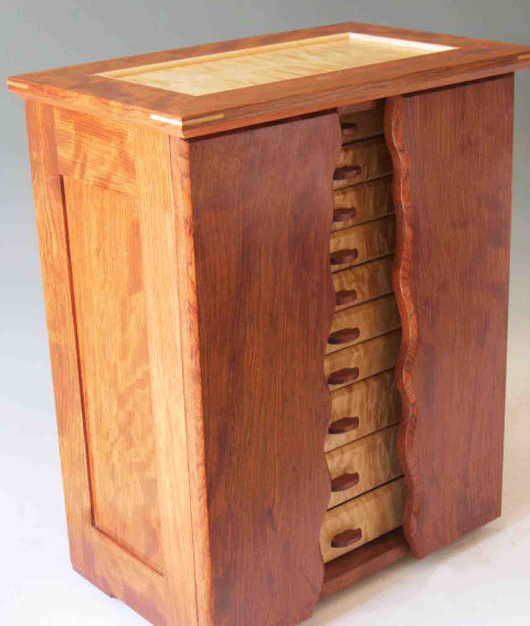 Necklace jewelry box a handmade jewelry box of fine woods for Wardrobe cabinet design woodworking plans