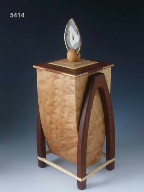 Handmade wooden cremation urn with beautiful exotic woods, rounded legs and a handle made of agate