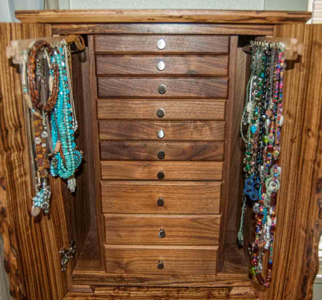 All Wood Jewelry Armoire ~ Necklace jewelry box a handmade of fine woods