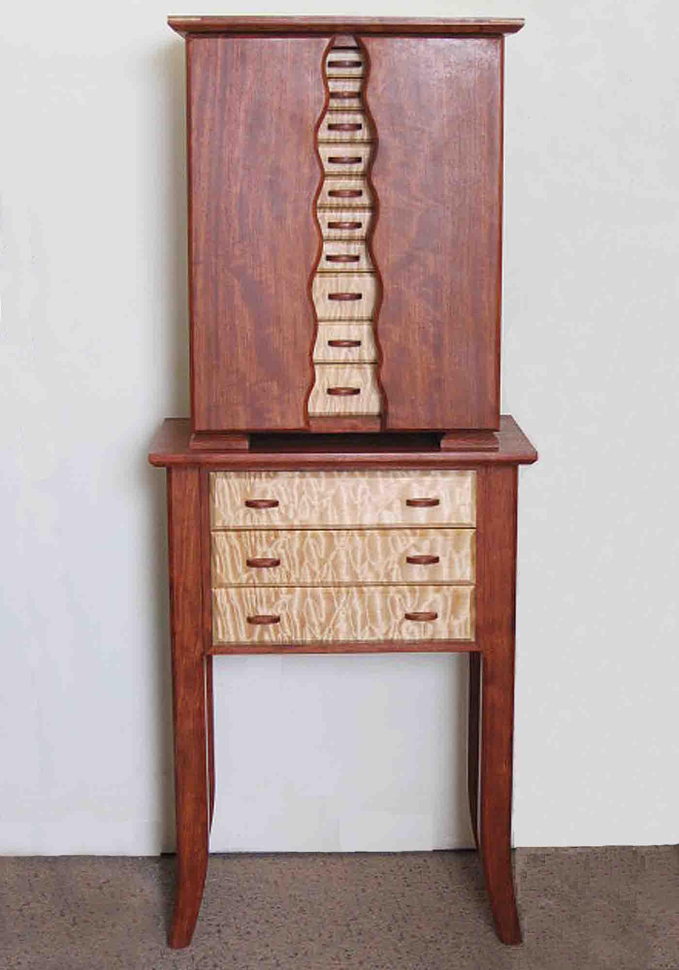 Standing jewelry box handmade of exotic woods